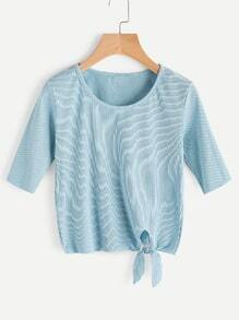 Knotted Hem Ribbed Top