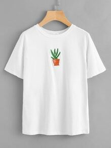 Cactaceae Embroidered T-shirt