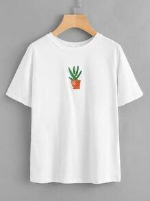Camiseta bordada de cactus