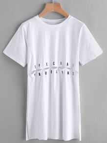 Letter Print Hollow Out Slit Side Longline Tee