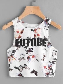 Letter And Floral Print Crop Tank Top