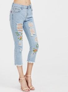 Embroidery Ripped Frayed Hem Capri Jeans