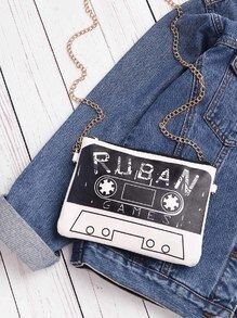 Tape And Letter Print Clutch Bag