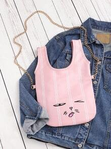 Facial Print Vest Shaped Crossbody Bag
