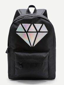 Mochila con parche de diamante metálico y bolsillo en la parte delantera