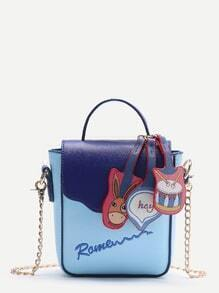 Cartoon Decorated PU Crossbody Bag With Letter Embroidery