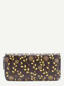 Flower Print PU Wallet With Zipper