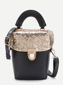 Sequin Flap Pushlock PU Shoulder Bag