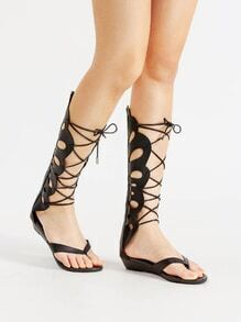 Cut Out Design Criss Cross Gladiator Sandals