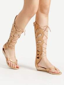 Sandalias con diseño de abertura con tiras cruzadas
