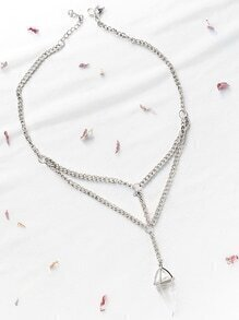 Crystal Pendant Layered Chain Necklace
