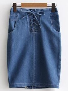 Lace Up Grommet Zipper Back Denim Skirt
