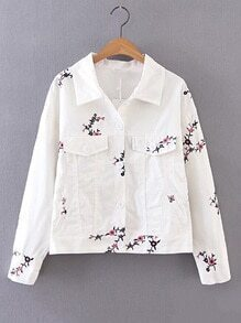 Flap Pocket Front Embroidery Jacket