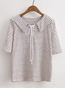 Middy Collar Lace Up Grommet Tee