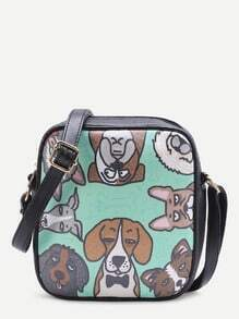 Dog Print PU Crossbody Bag With Adjustable Strap