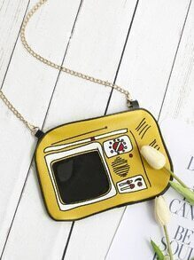 Comic Print PU Chain Crossbody Bag