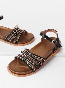 Sandalias de pu con decoración de cadena con tiras