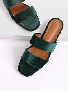Rockstud Detail Velvet Flat Sandals