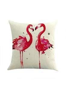 Contrast Couple Flamingo Print Pillowcase Cover