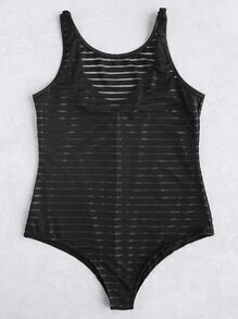 Striped Mesh Low Back Swimsuit