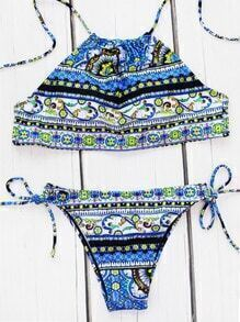 Tribal Print Side Tie Bikini Set