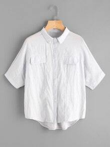 Dip Hem Shirt With Chest Fake Pockets