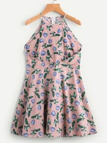Floral Print Fold Over Zip Back A Line Dress