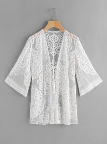 Self Tie Front Sheer Lace Kimono
