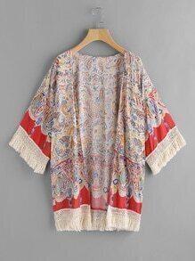 Printed Random Contrast Tassel Hem Kimono