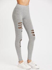 Fishnet Panel Slub Leggings