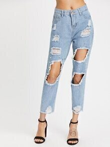 Distressed Fray Hem Crop Jeans
