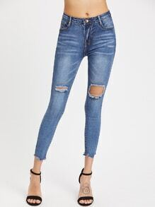 Destroyed Raw Cut Skinny Ankle Jeans