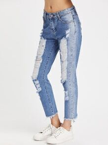 Distressed Raw Cut Fray Hem Ankle Jeans