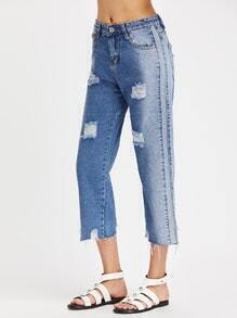 Wash Paneled Fray Hem Boyfriend Crop Jeans