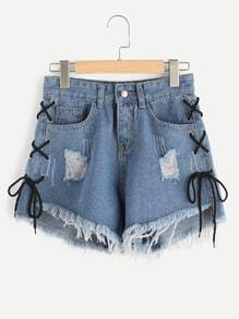 Eyelet Lace Up Side Fray Hem Denim Shorts