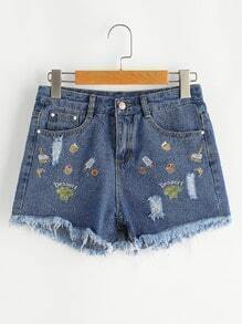 Embroidered Fray Hem Destroyed Denim Shorts