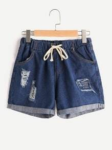 Letter Embroidered Drawstring Waist Distressed Cuffed Shorts