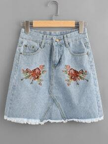 Floral Embroidered Fray Hem A Line Denim Skirt