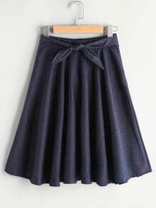 Elastic Waist Self Tie Pleated Chambray Skirt