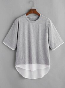 Color Block Slub Dip Hem Drop Shoulder Tee