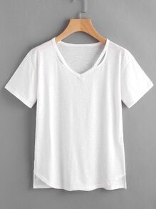 Cut Out Neck Raw Hem Slub Tee