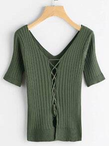 Lace Up Front Ribbed Tee