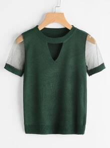 Mesh Panel Cut Out Tee