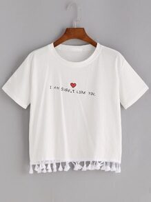 Heart And Slogan Print Tassel Hem Tee
