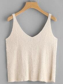 V Neckline Ribbed Tank Top