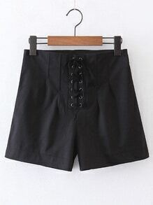 Lace Up Grommet Zipper Side Shorts