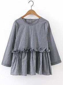 Grid Frill Trim Tunic Blouse
