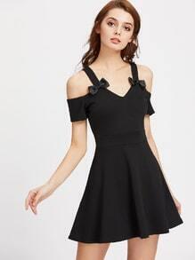 Cold Shoulder Bow Detail Swing Dress