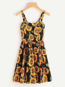 Sunflower Print Swing Dress