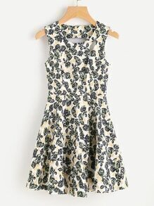 Ditsy Print Keyhole Cut Skater Dress